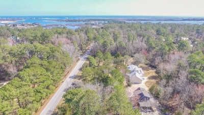 drone photograph of Wilmington NC's waterway and Masonboro Island