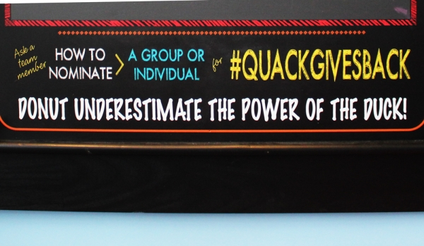 sign wth the #quackgivesback information