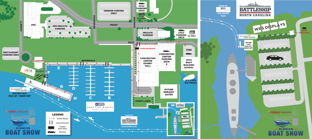 map of the Wilmington Boat Show parking